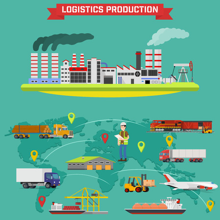 lifting globe: Manufacturing and logistics goods. Production process with factory buildings. Storing of goods in warehouse, fast delivery worldwide. infographic Illustration