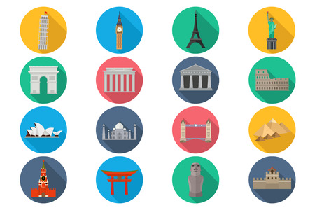 monuments: Travel landmarks icon set - stylized icons of the worlds monuments.