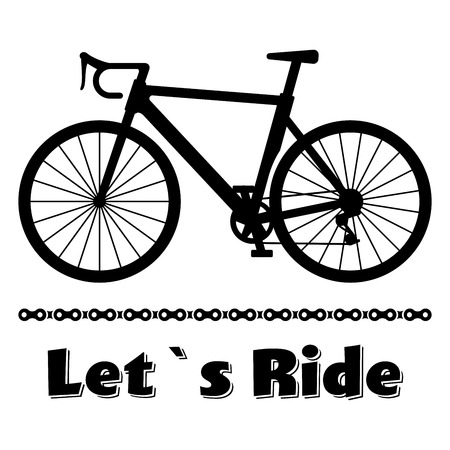 racing bicycle: Minimalistic bike poster Lets Ride. Black road racing bicycle with a chain. illustration on white background.
