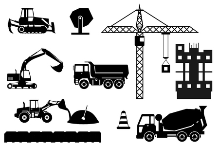 measured: Construction machines builders and house building process. Process of development the house. Engineering measured, architectural work, builders make a house. flat illustration