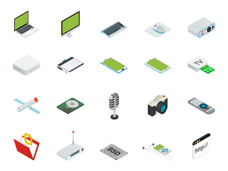 computerized: Flat 3d isometric computerized technology designer workspace infographic concept . Tablet, laptop, smart phone, camera, player, desktop computer, peripheral devices icon set.