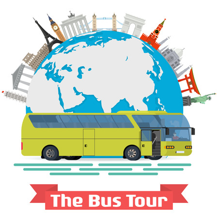bus tour: conceptual illustration - The Bus Tour of Europe and popular familiar landmarks. Globe with monuments and green touristic bus.