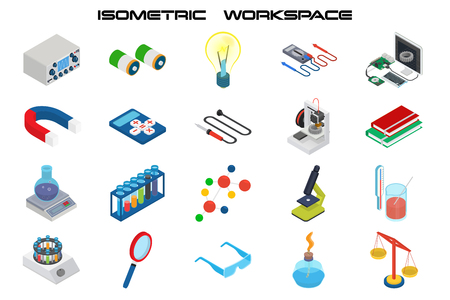 Isometric science icons with 3D design, electronics and chemistry equipment