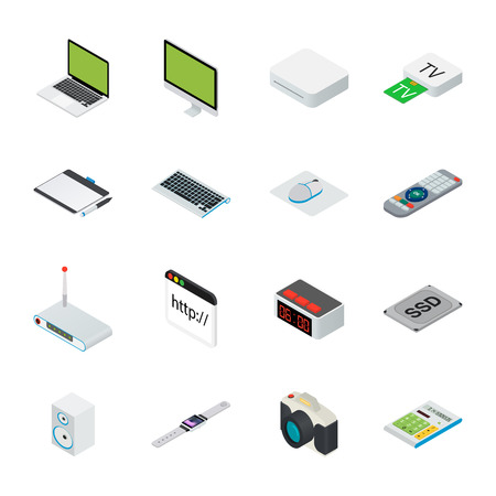 peripheral: Flat 3d isometric computerized technology designer workspace infographic concept . Tablet, laptop, smart phone, camera, player, desktop computer, peripheral devices icon set.