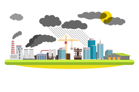 mills: Flat city and industrial landscape. Environmental pollution the mills and factories located in the city. illustration on white background.