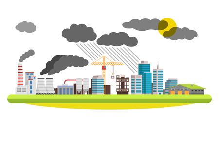 Wohnung Stadt und Industrielandschaft. Umweltverschmutzung die Mühlen und Fabriken in der Stadt. Abbildung auf weißem Hintergrund.