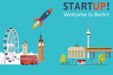 Sturtup、ベルリンへようこそ!ドイツ - コンセプトにイギリスからスタートアップを移動  イラスト・ベクター素材