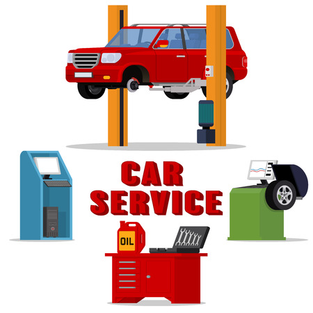 tire fitting: Vector concept car services - car repair and diagnostics. Tire fitting service and tuning. SUV raised by twin post lifts Illustration