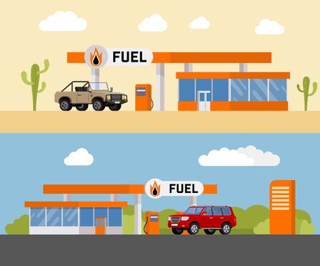 fuel pump: Gas station concept. Gas station flat vector illustration. Fuel pump, car, shop, oil station, gasoline. Gas station EPS. Refilling cleaning shopping service. Illustration