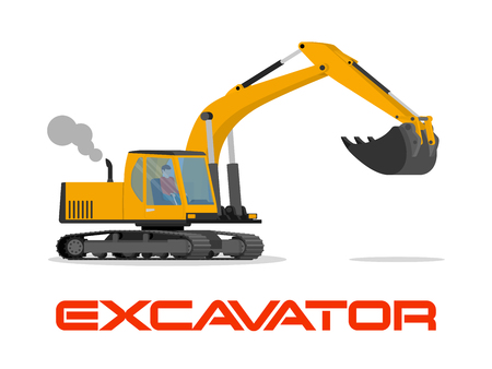Vector illustration with flat industrial excavator. Construction equipment,mining ransportation. Heavy machinery object. Isolated excavator on white background Illustration