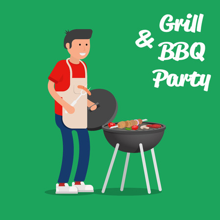 hot couple: Man of cooking meat with a grill. Barbecue party. Vector illustration.