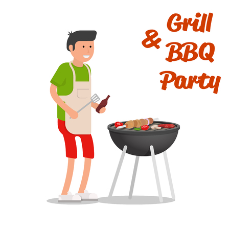 family outside house: Man of cooking meat with a grill. Barbecue party. Vector illustration.