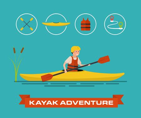 kayaker: Vector illustration of a cartoon kayaker.