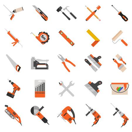 Inicio de reparación de herramientas de vectores iconos. De trabajo herramientas de reparación para la reparación y construcción. taladro de mano, sierra, nivel, martillo, un destornillador y otras herramientas de construcción. Inicio de reparación conjunto aislado sobre fondo blanco
