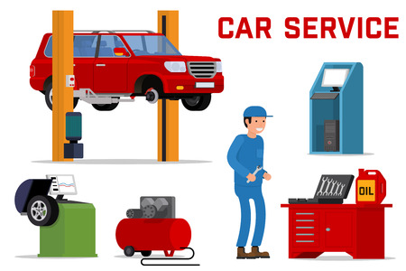 fitting: Car services - car maintenance repair and diagnostics. Tire fitting service and tuning. SUV raised by twin post lifts. Vector illustration.