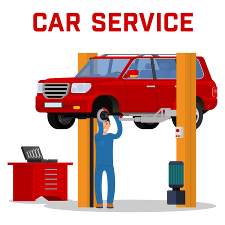 tire fitting: Car services - car maintenance repair and diagnostics. Tire fitting service and tuning. SUV raised by twin post lifts. Vector illustration.