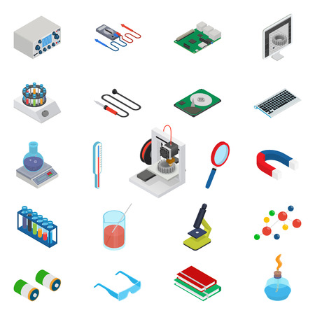 oscillograph: Isometric science icons with 3D design, electronics and chemistry equipment
