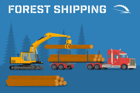 logging: Shipping timber. Loading felled trees in the timber crane on the basis of an excavator. benner.