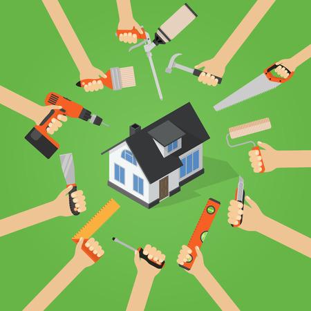 Manos con las herramientas de reparación en el hogar bricolaje actualización de trabajo de casa ilustración vectorial plana con casa isométrica