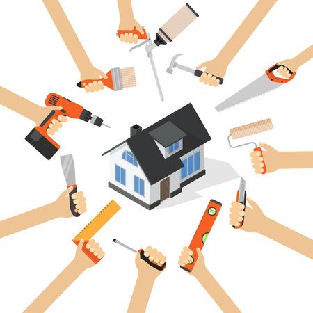 Les mains avec des outils de réparation à domicile rénovation bricolage ménagères plat illustration vectorielle avec maison isométrique Vecteurs