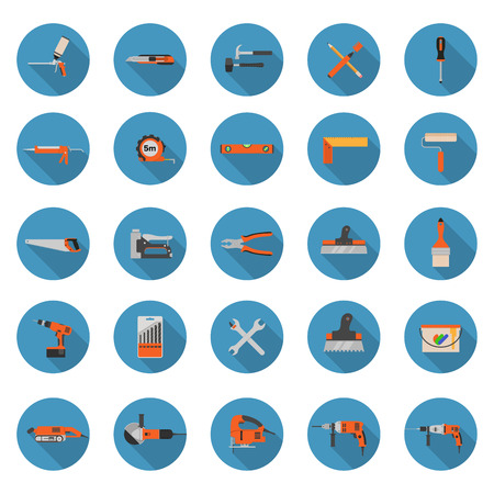 ison: Set of construction tools ison on a white background - Flat style vector illustrations with long shadows Illustration