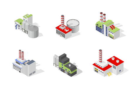 goods station: Icons and compositions of industrial building, isolated constructions, subjects isometric view, 3D. Vector set of industry. Illustration