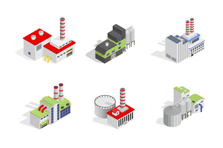 bilding: Icons and compositions of industrial building, isolated constructions, subjects isometric view, 3D. Vector set of industry. Illustration