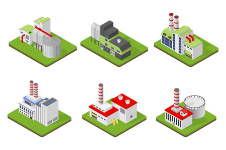 Icons and compositions of industrial building, isolated constructions, subjects isometric view, 3D. Vector set of industry. Illustration