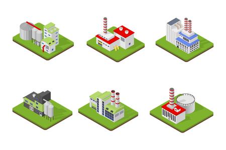 Los iconos y las composiciones de edificio industrial, construcciones aisladas, los sujetos vista isométrica en 3D. Conjunto de vectores de la industria.