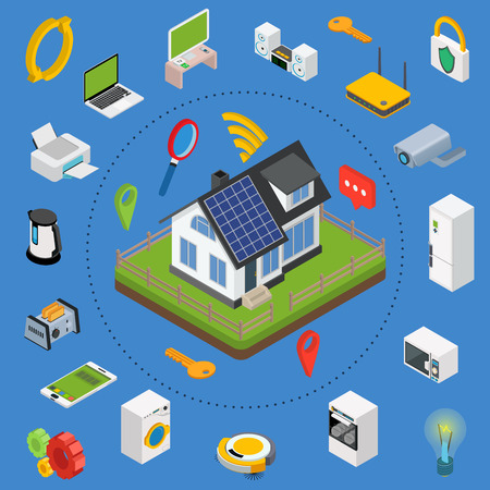 centralized: Smart home. Isometric design style vector illustration concept of smart house technology system with centralized control. Illustration