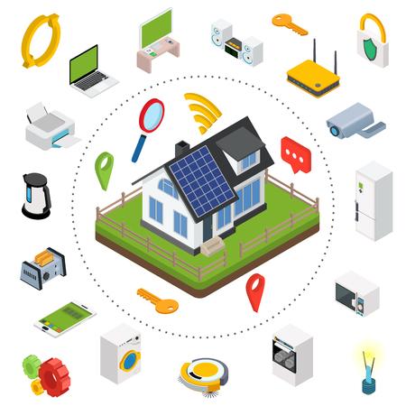 スマート ホーム。等尺性のデザイン スタイルはベクトル スマートハウス技術集中型制御システムの概念図。  イラスト・ベクター素材