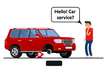 breakdown truck: Worried driver calling roadside assistance to help with his breakdown car vector illustration. Flat concept design on man in suit standing text to broken car with open hood talking on mobile phone Illustration