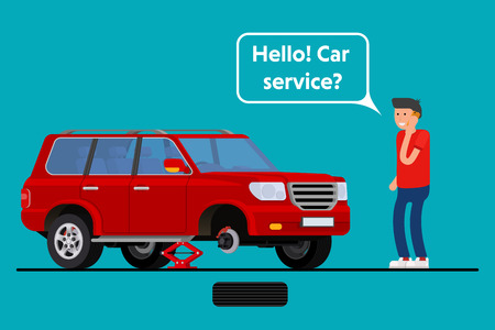 roadside assistance: Worried driver calling roadside assistance to help with his breakdown car vector illustration. Flat concept design on man in suit standing text to broken car with open hood talking on mobile phone Illustration