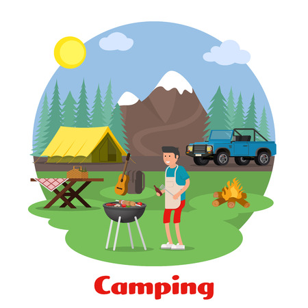 jeep: Camping and outdoor recreation concept. Man of cooking meat on the background of mountain scenery. Forest camp with a tent with a jeep. Vector illustration. Illustration
