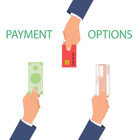 debet: Vector concept of payment options in flat style - illustration on white background
