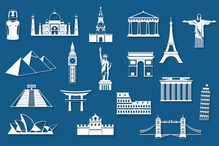 cheops: World landmarks, abstract flat paper icons set - Big Ben, Brandenburg Gate, Cheops Pyramid, Christ the Redeemer, Colosseum, Eiffel, Great Wall, Kremlin, Leaning Tower, Mayan Pyramids, Moai, Parthenon, Sydney Opera House, Taj Mahal, The Statue of Liberty,