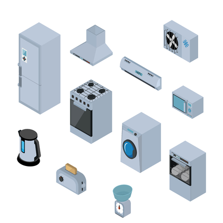 extractor: Household appliances isometric icons set with refrigerator, stove, washing machine, dishwasher, extractor, microwave, kettle, toaster and scales isolated vector illustration Illustration
