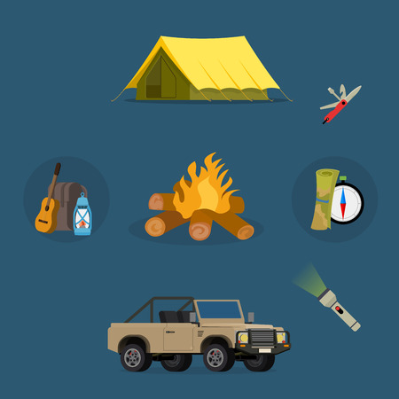family hiking: Set of camping equipment symbols vector icons. Camping tent and camping fishing rod travel backpack. Campfire activity camping travel backpack. Camping hike tourist campsite fun nature element set.