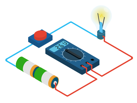 バッテリー、ボタンおよびライト - 等角投影図から測定デジタルマルチメータ電圧回路のインフォ グラフィック