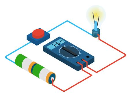 infographic van de meting multimeters voltage circuit van de batterij, knoppen en lampjes - isometrische illustratie