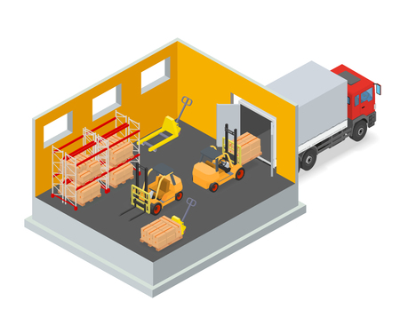 warehouse equipment: Loading or unloading a truck in the warehouse. Forklifts move the cargo. Warehouse equipment. Isometric vector illustration.