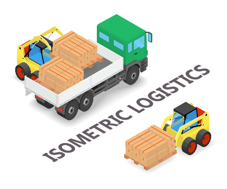 Isometric logistics - Process of loading and unloading the trucks with a forklift - isometric illustration