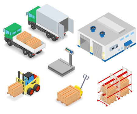 Loading or unloading a truck in the warehouse. Forklifts move the cargo. Warehouse equipment. Isometric vector illustration. Banco de Imagens - 64756076