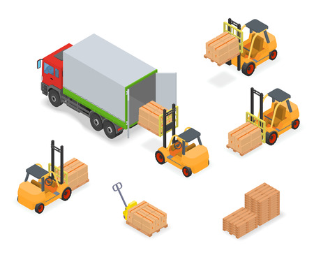 Loading or unloading a truck in the warehouse. Forklifts move the cargo. Warehouse equipment. Vectores