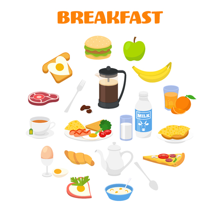Breakfast concept with fresh food and drinks icons set - vector illustration