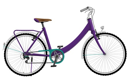 Ladies purple urban sports bike isolated on white background