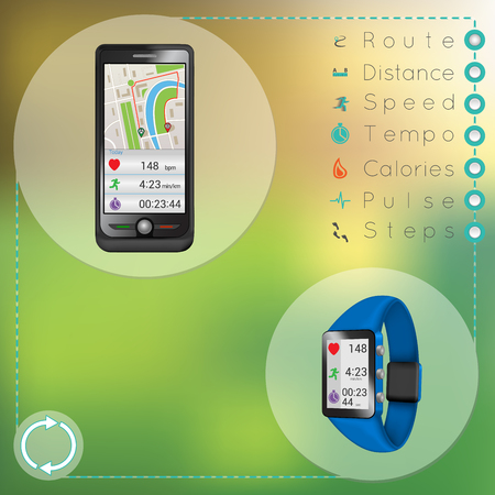 synchronization: smartphone and smart fitness watch during synchronization