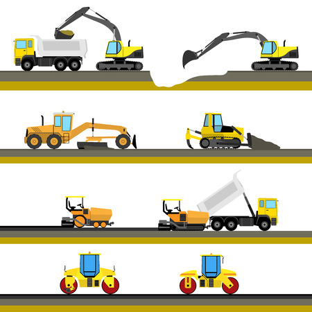 road grader: Set of seamless horizontal road construction background with construction equipment icons. Vector illustration