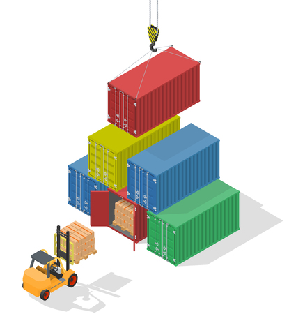 unloading: Marine cargo port. Unloading of sea cargo containers by a forklift. Closed containers and one outdoor. Isometric vector illustration. Illustration