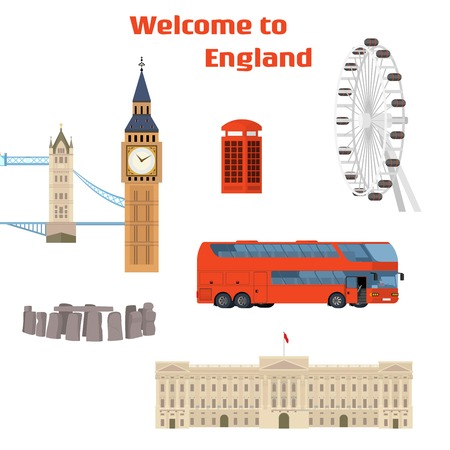 Welcome to England - Vector set of the London famous place and landmark with Tower Bridge, Big Ben, London Eye, Red phone booth, Red double-decker bus and Buckingham Palace. On flat style Illustration